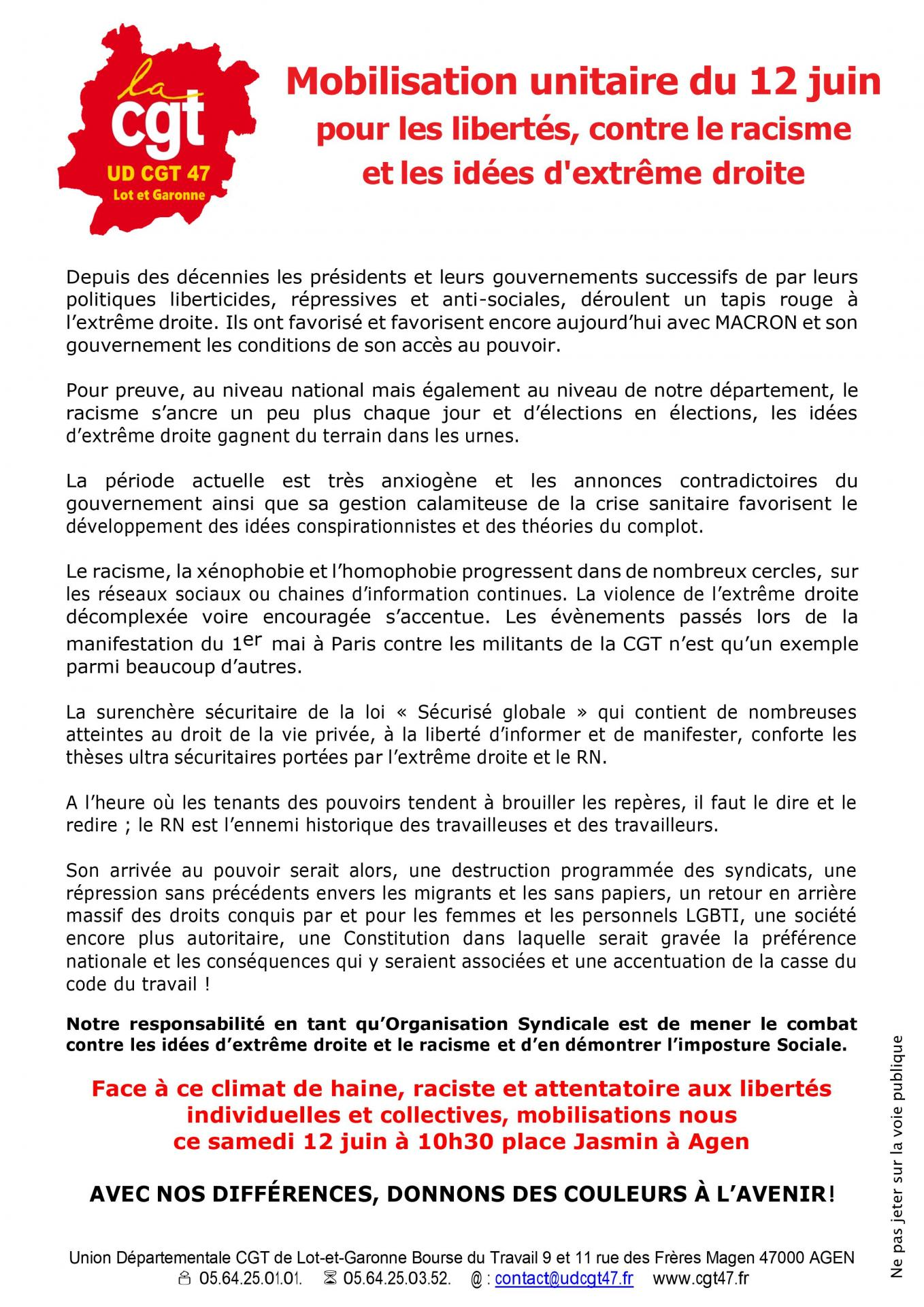 Tract 12 juin ud cgt 47