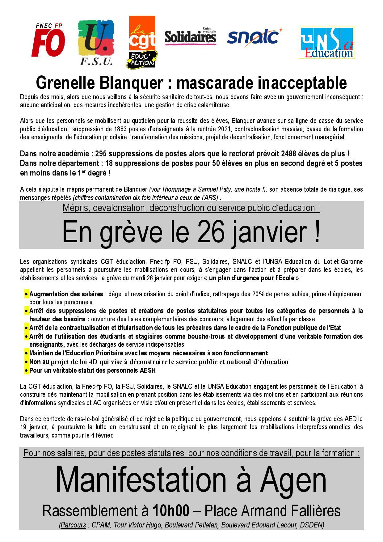 Tract intersyndical greve du 26 janvier page 001